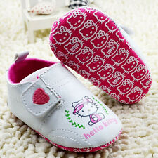 New HELLO KITTY Soft Sole Baby Girl Sporty Wht Sneakers Crib Shoes. Age 0-18 Mth