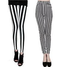 Women Fashion Zebra Pattern White&Black Stripes Skinny Nine Pant Elastic Legging