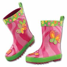Little Girls Youth Pink and Green Rain Snow Boots with Flowers and Butterflies