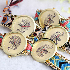 Lovely Animal Elephant Print Friendship Braid Bracelet Watches For Women Lady