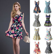 Cute Women Summer Dress Slim Floral Print Chiffon Short Beach Mini Dress 4 Size