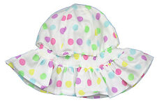 New Lilac & Pink Spotty Mop Summer hat - baby girl 3-6 & 6-12 months