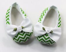 Green Chevron Baby Crib Shoes with Satin Bows - Newborn, 3-6 Months, 6-12 Months