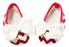 Hot Pink Chevron Baby Crib Shoes with Bows - Newborn, 3-6 Months, 6-12 Months