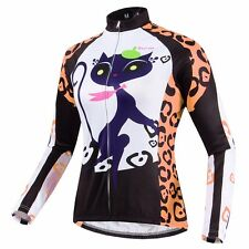 Women's cat girl Winter Cycling Clothing Bicycle Long Sleeve Jersey Top Thermal