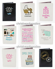 PERSONALISED Leather Passport Cover Holder Protector Wallet Travel UK European