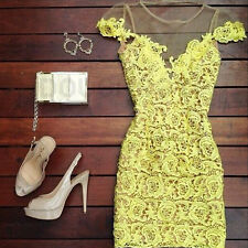 CELEB LADIES SLEEVELESS BANDAGE BODYCON LACE EVENING SEXY PARTY COCKTAIL DRESS