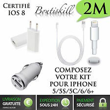 CHARGEUR 2M CABLE USB★CHARGER SECTEUR★CHARGEUR VOITURE★APPLE IPHONE 5/5S/5C/6/6+