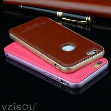 Luxury Leather Back + Aluminum Metal Bumper Case Cover For iPhone 5/5S/6/6 Plus