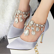 New Sexy Rhinestone Pointed Toe High Heels Shallow Sandals Women Wedding Shoes