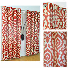 """FABULOUS CURTAINS, EYELETS, 90""""x72"""" MOROCCAN INSPIRED DESIGN TERRACOTTA LINED"""