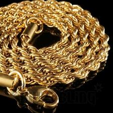 "18K Yellow Gold Plated STAINLESS STEEL ROPE CHAIN Link Mens Necklace 20""-30"" NEW"