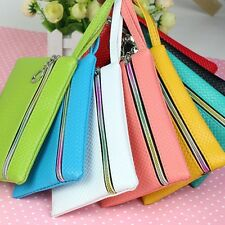 Big Sale! Women PU Purse Wristlet Wallet Bags Coin Phone Key Case Makeup Bag