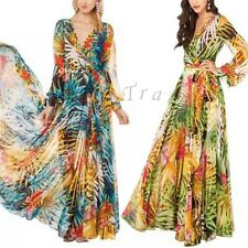 Womens V-Neck Tropical Boho Floral Print Chiffon Summer Beach Long Maxi Dress