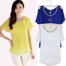 ZANZEA PLUS Womens Summer Short Batwing Sleeve Cape Chiffon Top Blouse Shirt New
