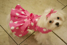 Medium Big Pink Dots Dress - Dog dress clothes- Pet Apparel, puppy, toy