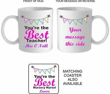 Personalised Best Bunting Teacher Mug/Coaster,Thankyou End Of Term Present/Gift