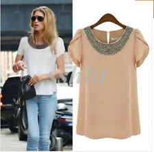 New Fashion Women Chiffon Short Sleeve T Shirt Casual Tops Ladies' Beads Blouse
