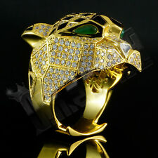 18K Gold Plated LEOPARD ICED OUT Simulated Lab Diamond Band Mens Bling Ring NEW