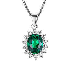 JewelryPalace Nano Russian Emerald Pendant Necklace Chain 925 Sterling Silver