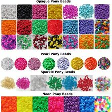 Pony Beads,Opaque, Neon, Sparkle or Pearl, Mixed/Single Colours Hair Braiding