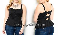 H85 BLACK OPEN BACK WITH ACCENT BOW  PEPLUM TANK TOP JUNIOR PLUS SIZE 1X 2X 3X