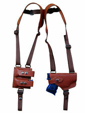 NEW Barsony Burgundy Leather Shoulder Holster w/ Dbl Magazine Pouch Taurus Comp