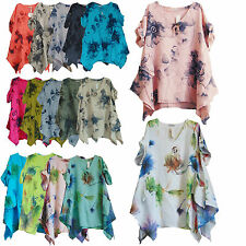 ITALIAN LAGENLOOK LINEN SUMMER BOHO LOOSE FLORAL TOP/TUNIC DRESS PLUS SIZE OSFA
