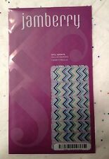 Jamberry Nail Wraps EVERYTHING NICE Blue Aqua Gold Zig Zag Chevron Stripes