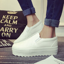 Cotton Womens Girls Tennis Platform Creepers Canvas Chelsea Spring Shoes Slip on