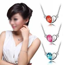 Ladys Crystal Love Heart Diamond Pendant Silver Plated Link Necklace Neckchain