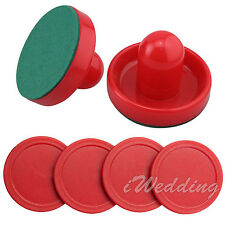 Dureable Air Hockey 2 Pusher Handles 4 Red Pucks Goalie Paddles Replacement Set