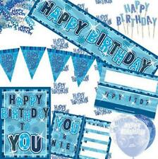 Blue and Silver Aged Birthday Party Decorations Tableware 13-80 Plates Napkins