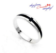 S925 Sterling Silver Black Agate Cross Unisex Ring/18K GP/Can be Couples' Ring