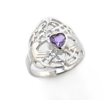 Celtic Knot and Genuine Amethyst Irish Claddagh Sterling Silver Ring