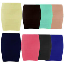 Ladies Womens Ribbed Bandage Panel Stretch Bodycon Office Mini Party Skirt