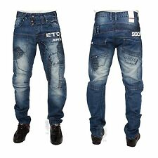 MENS NEW EM518 STRAIGHT LEG BLUE JEANS LATEST FUNKY DESIGN 28 TO 42