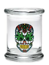 "Pop-Top Stash Jar 420 Science with ""Sugar Skull"" Decal - Assorted Sizes"