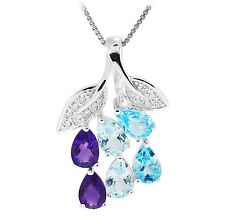 Amethyst Sky Swiss Topaz Pendant Necklace Chain Solid 925 Sterling Silver Women