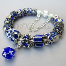 Sapphire Blue September Birthstone European Charm Bracelet - September Gift