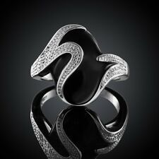 New Women 925 Sterling Silver Plated Stylish Black Band Solid Ring Jewelry Size8