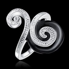 Women 925 Sterling Silver Plated Stylish Black Modern Band Solid Ring Jewelry 8