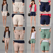 Girl Lady Summer Linen Candy Color Casual Stretch Loose Shorts High Waist Pants