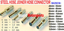 Straight Metal steel Hose Joiner Barbed Connector Air Fuel Water Pipe Gas Tubing