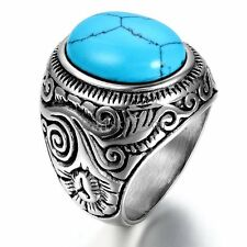 Vintage Men's Stainelss Steel Oval Artifical Turquoise Stainless Steel Ring