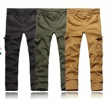 Outdoor Mens Cargo Pants Relaxed Fit Cotton Multi-pocket Cargo Pants Trousers