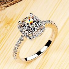 18k white Gold SWA Crystal women Couple Bridal Square wedding Diamond rings A20
