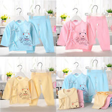 2Pc Newborn Baby Clothes Girl Boy Tops + Pants Outfits Set Bear Cartoon Homewear