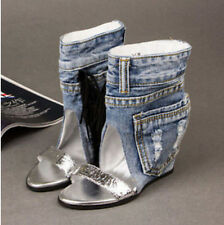 New Sexy Womens Ankle Boots Cut Out Hiden Heel Fashion Denim Jeans Sandals Shoes