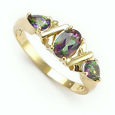 14k Solid Yellow Gold Three Stone Green Topaz Ring #R443